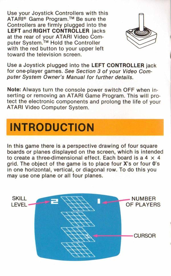 Atari 2600 Vcs 3 D Tic Tac Toe Scans Dump Download Screenshots