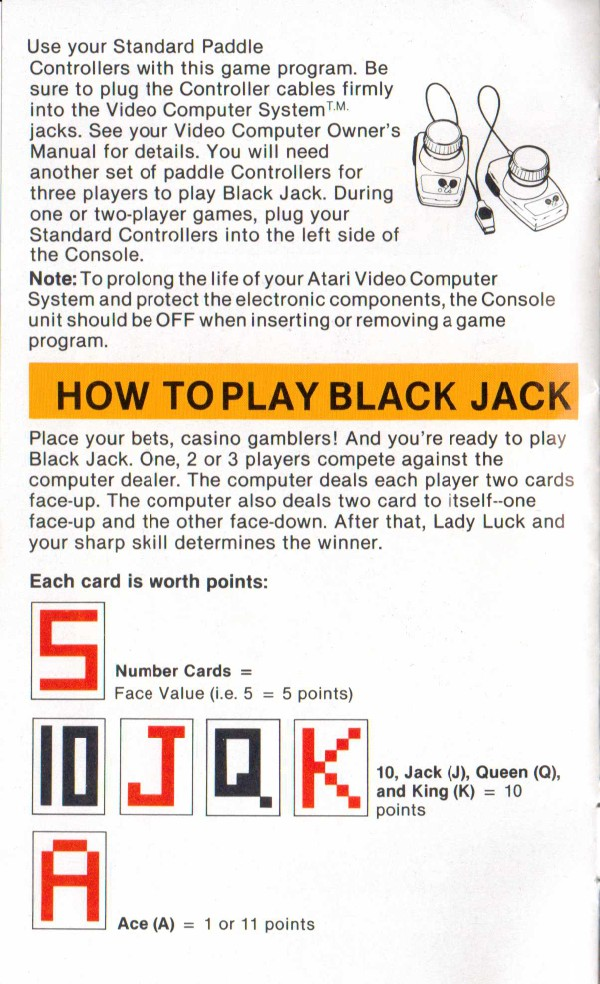 Atari 2600 Vcs Blackjack Scans Dump Download Screenshots Ads