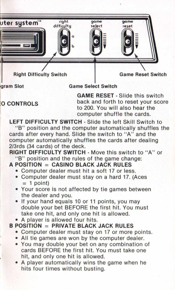 Atari 2600 Vcs Blackjack Scans Dump Download Screenshots Ads