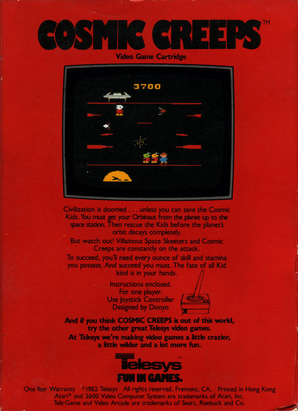 running shoes size 40 arriving Atari 2600 VCS Cosmic Creeps : scans, dump, download ...