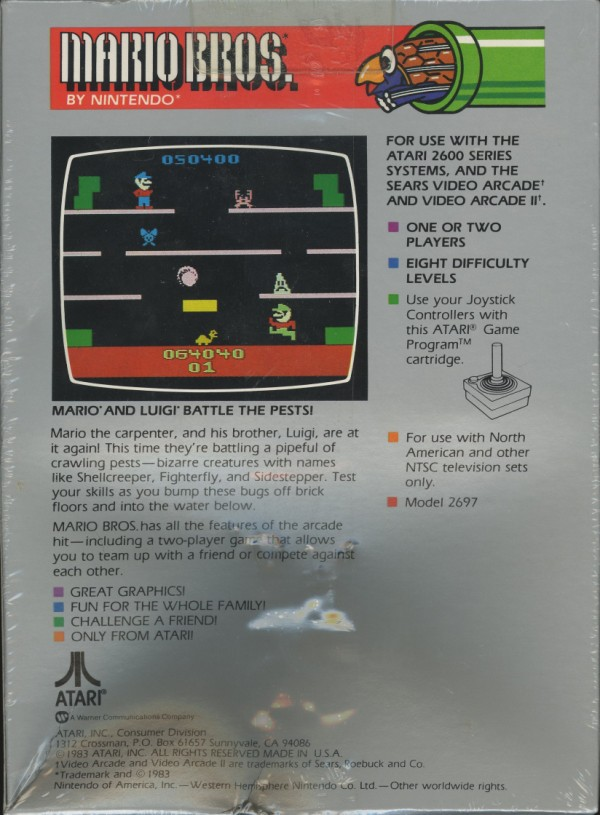 Atari 2600 VCS Mario Bros  : scans, dump, download