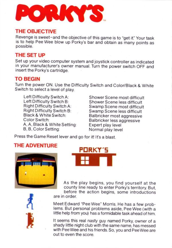 Atari 2600 Vcs Porkys Scans Dump Download Screenshots Ads