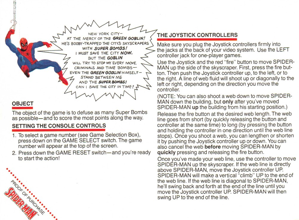 Atari 2600 VCS Spider-Man : scans, dump, download, screenshots, ads