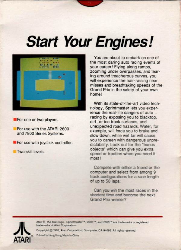 How To Get Tar Off Car >> Atari 2600 VCS Sprint Master : scans, dump, download ...