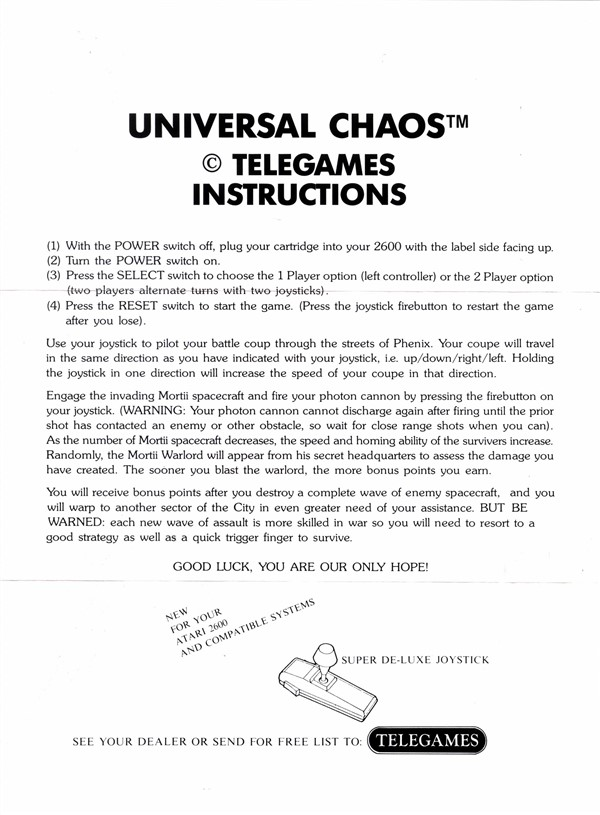 Atari 2600 Vcs Universal Chaos Scans Dump Download Screenshots