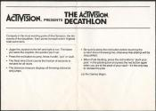 Activision Decathlon (The) Atari instructions