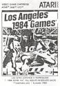 Los Angeles 1984 Games Atari instructions