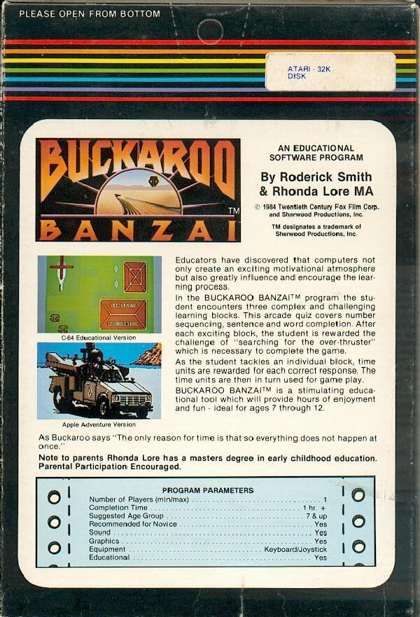 Atari 400 800 Xl Xe Adventures Of Buckaroo Banzai The