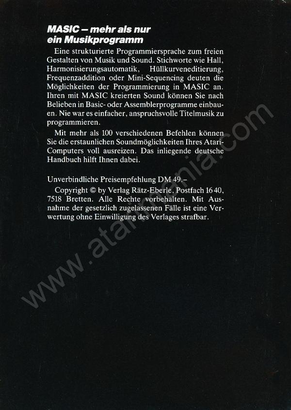 Atari 400 800 XL XE MASIC : scans, dump, download, screenshots, ads ...