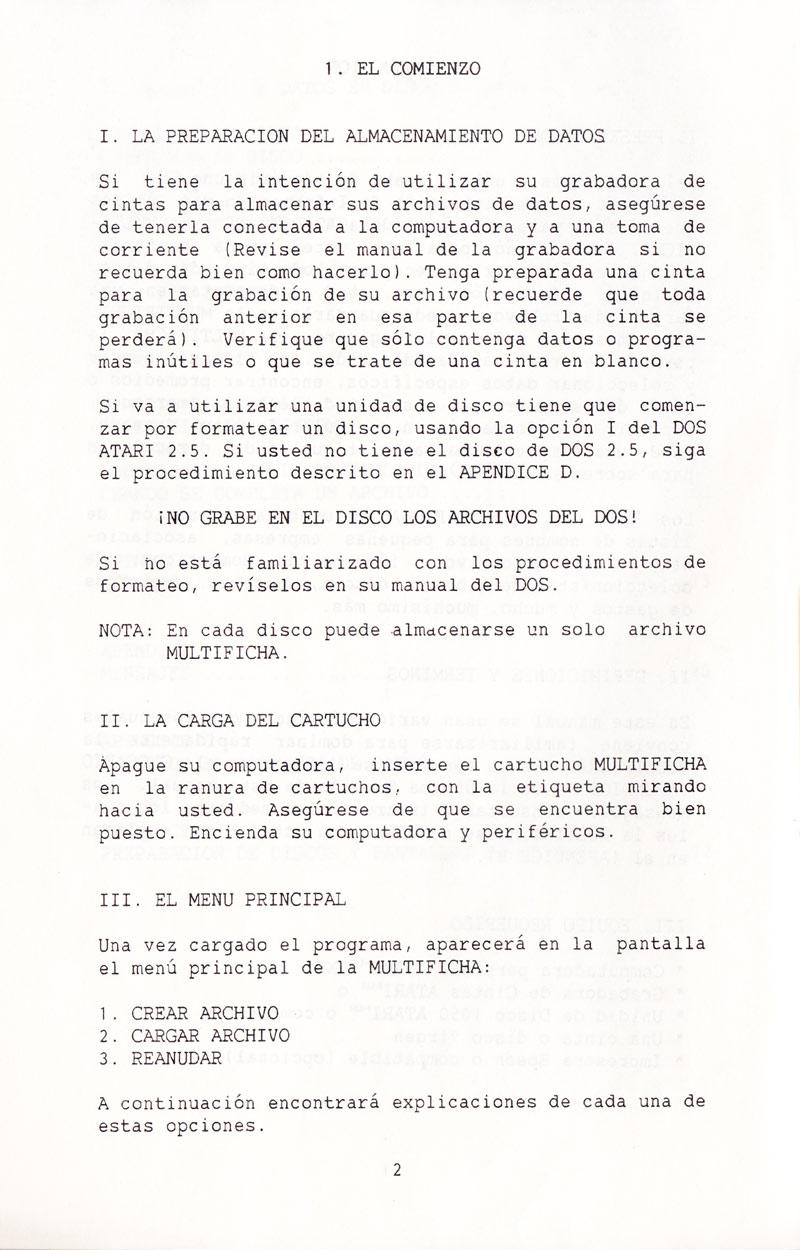 Atari 400 800 XL XE MultiFicha : scans, dump, download, screenshots ...