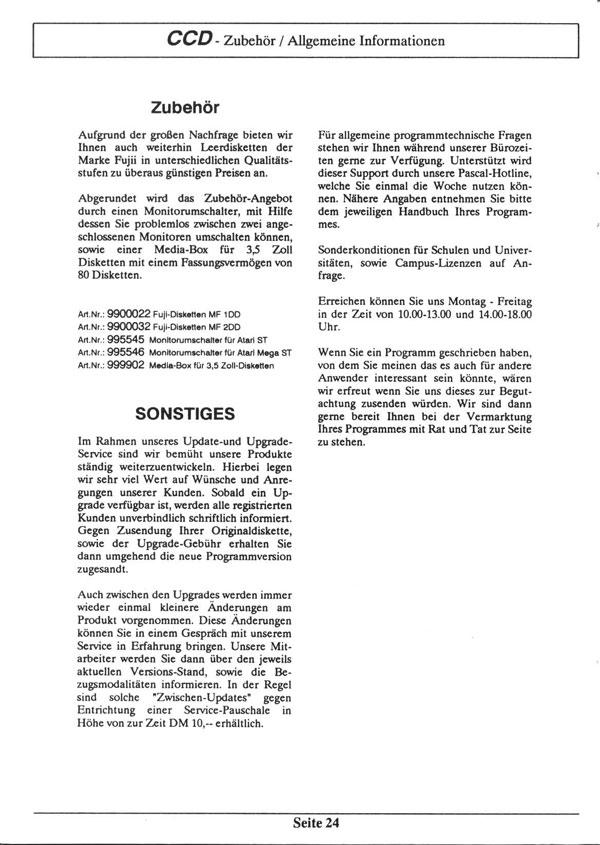 Atari ST catalog - Creative Computer Design (CCD) - 1989