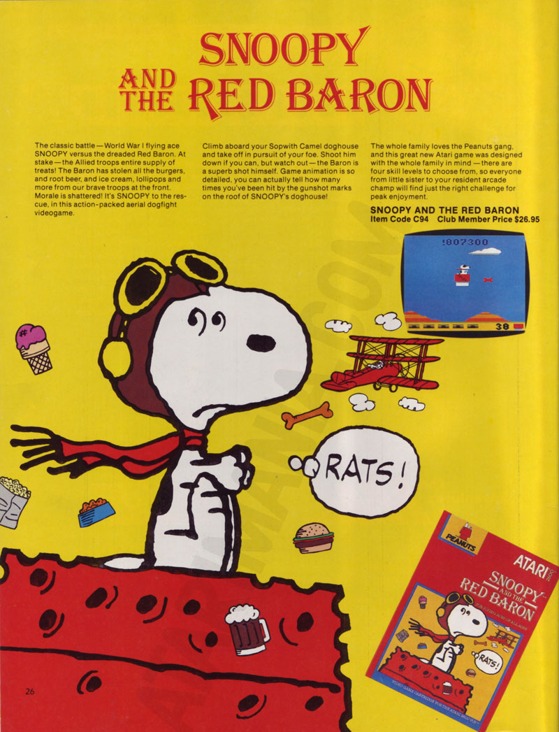 Atari 2600 Vcs Snoopy And The Red Baron Scans Dump Download