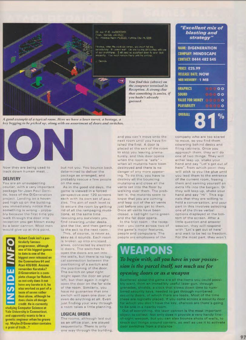 Atari ST D-Generation : scans, dump, download, screenshots
