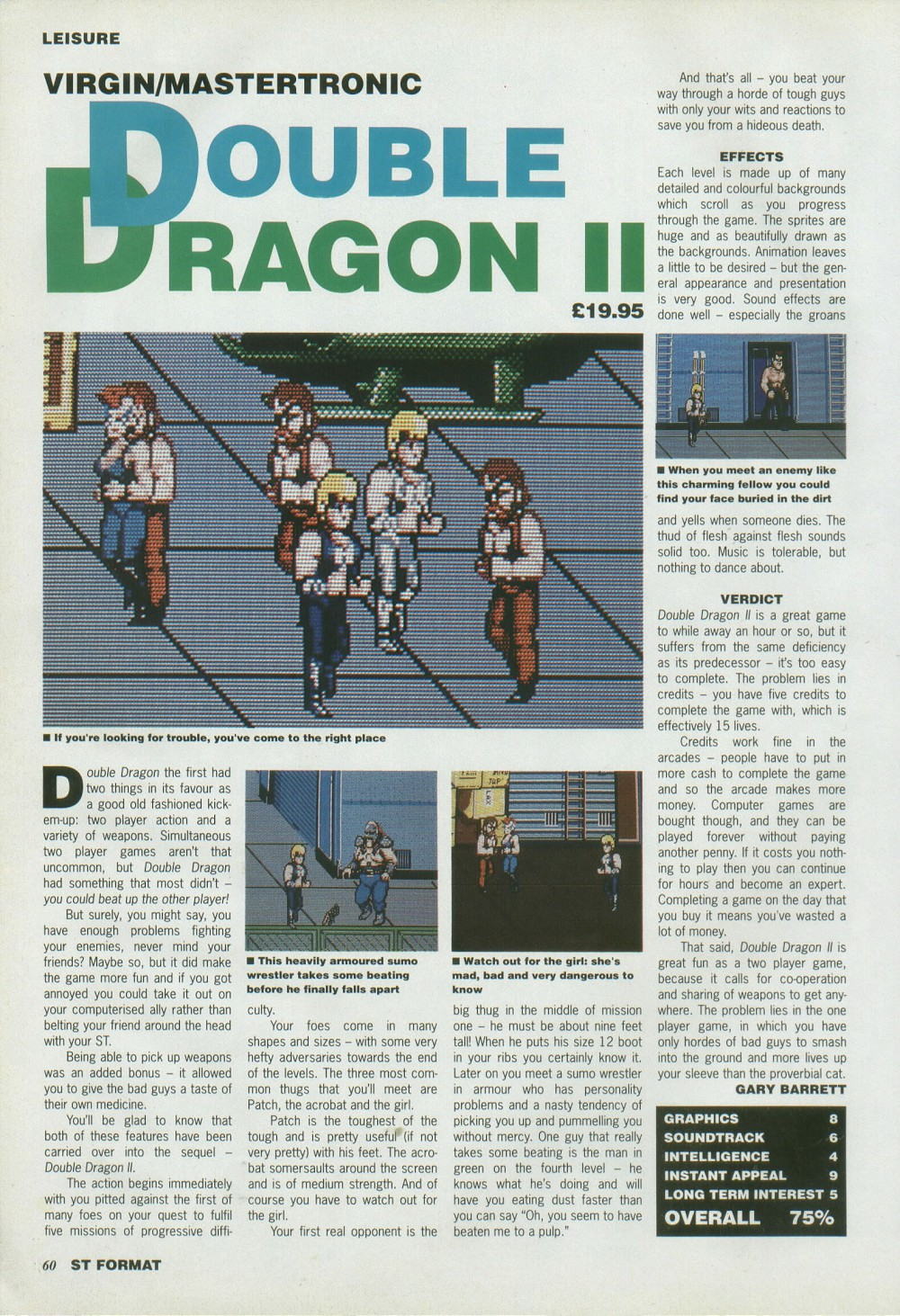 Atari ST Double Dragon II - The Revenge : scans, dump, download