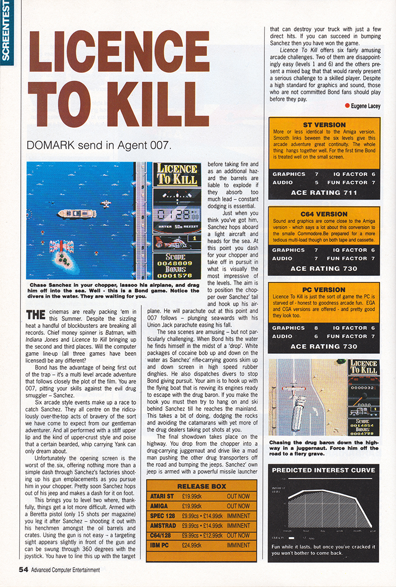 Atari ST Licence to Kill : scans, dump, download, screenshots, ads