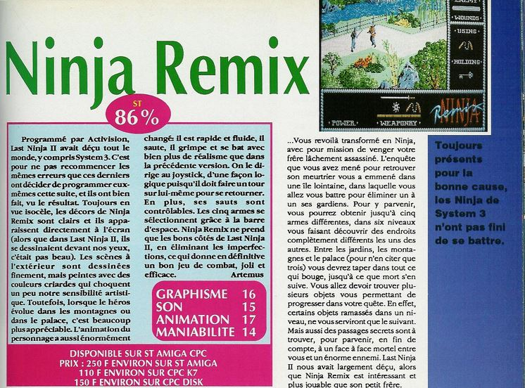 Atari ST Ninja Remix : scans, dump, download, screenshots