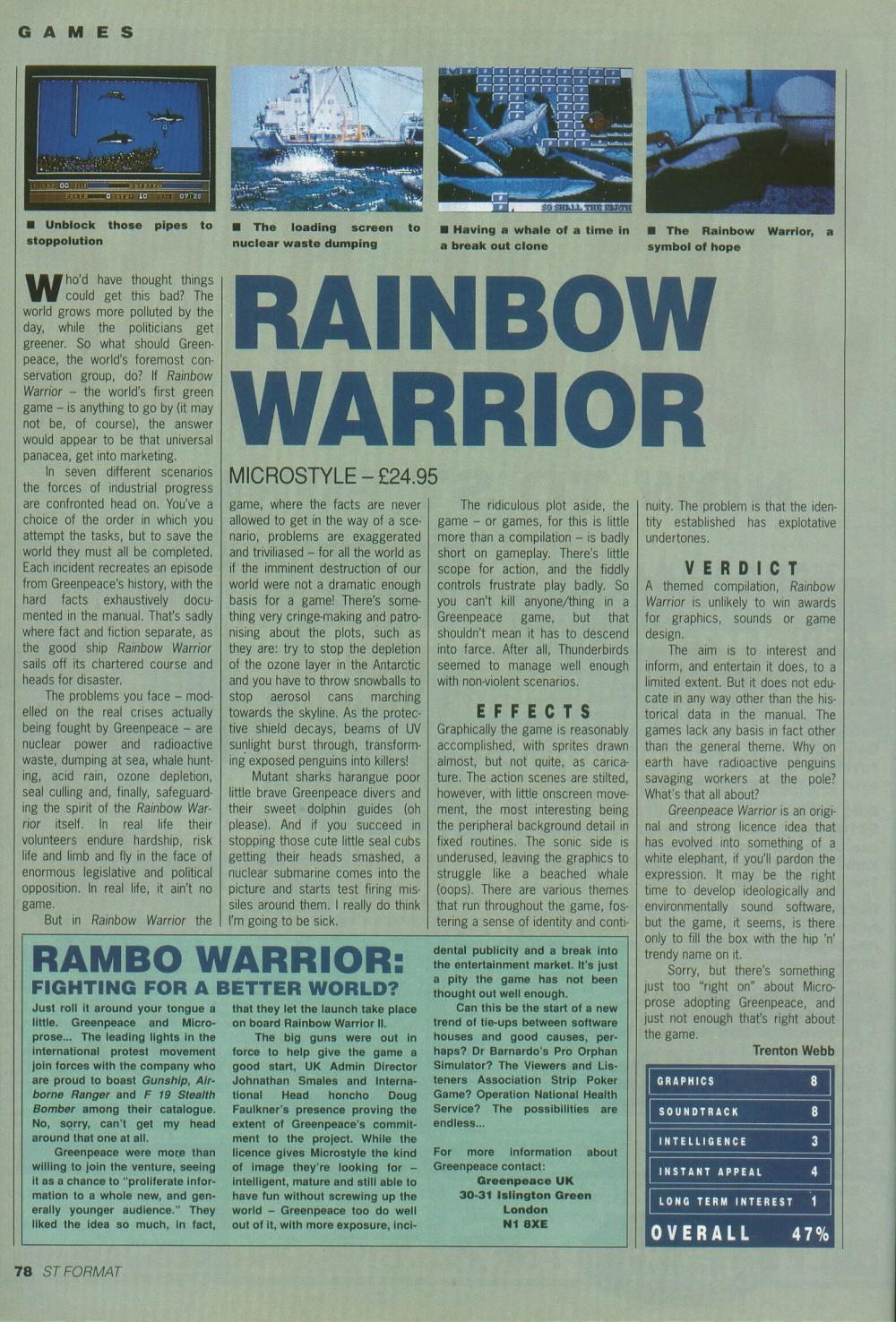 Atari ST Rainbow Warrior : scans, dump, download, screenshots, ads