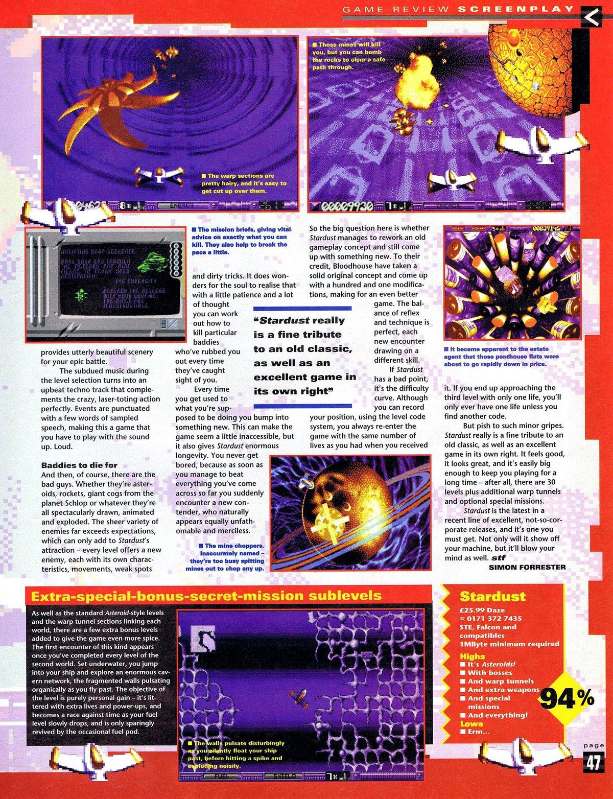 Atari ST Stardust : scans, dump, download, screenshots, ads