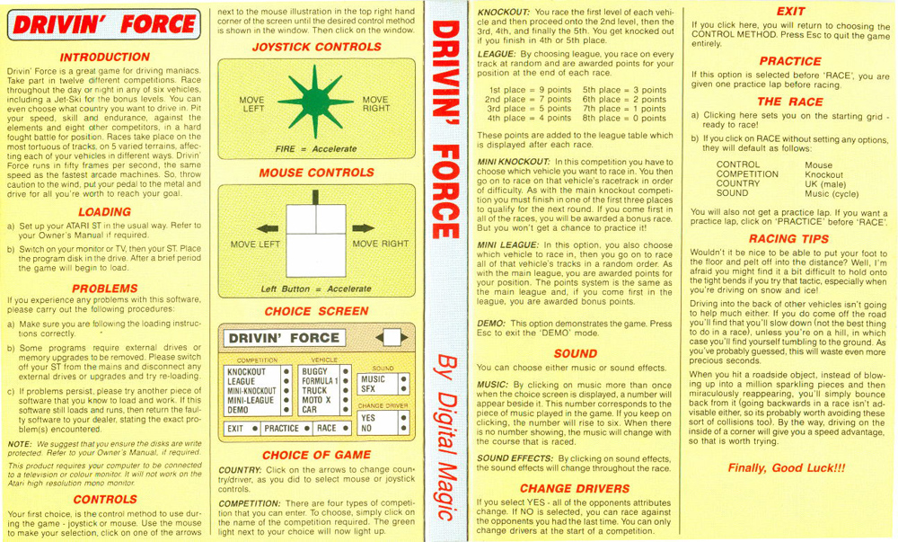 Atari ST Drivin' Force : scans, dump, download, screenshots, ads