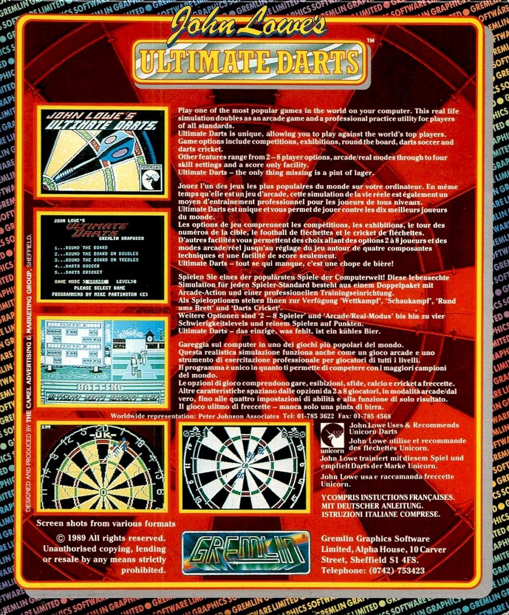 Atari ST John Lowe's Ultimate Darts : Scans, Dump