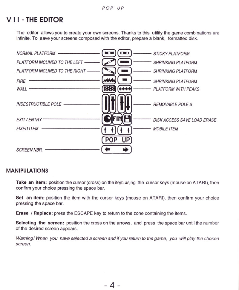 pop up game instructions