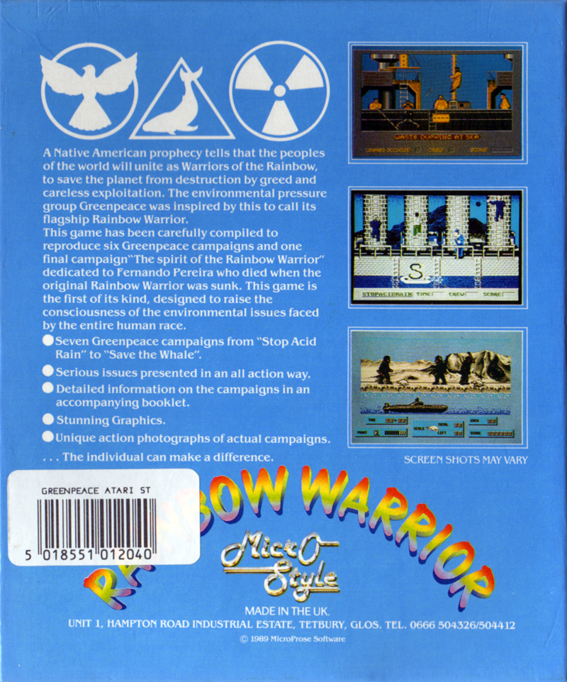 John Woo Warriors Of The Rainbow: Atari ST Rainbow Warrior : Scans, Dump, Download