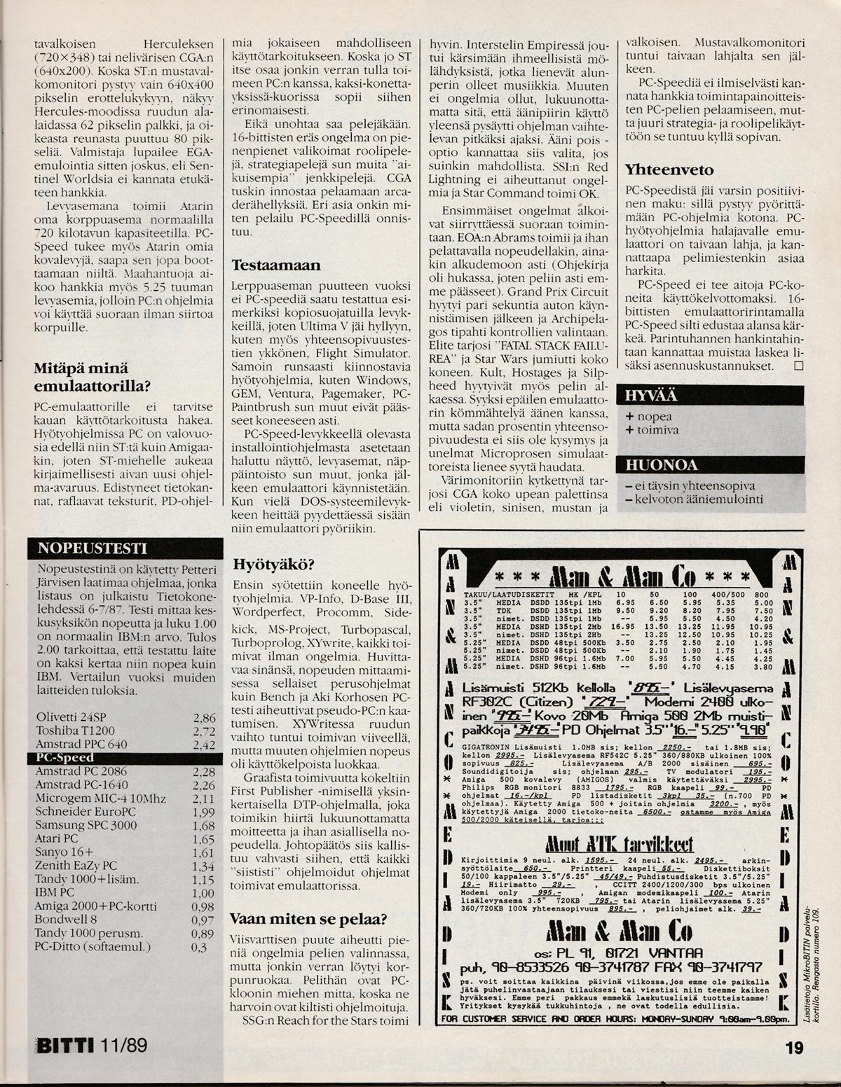 Atari ST PC Speed : scans, dump, download, screenshots, ads