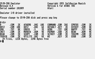Atari ST CP/M Emulator : scans, dump, download, screenshots, ads