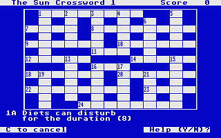 Sun Crossword atari screenshot
