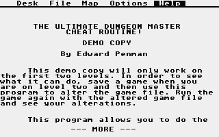Ultimate Dungeon Master Cheat Routine (The) atari screenshot